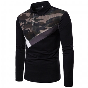 Men's Mesh Upper Body Camouflage Stitching Fashion Design Lapel Long Sleeves POLO Shirt