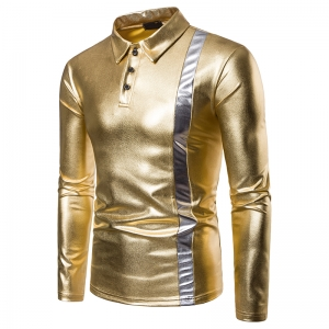 Men's Two-Tone Hot Stamping Lapel Long Sleeves POLO T-Shirt