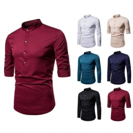Men's Solid Color Henry Collar Long Sleeve Shirt