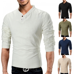 Europe Men's Fashion Solid Color Stand Collar Linen Long-Sleeved T-Shirt
