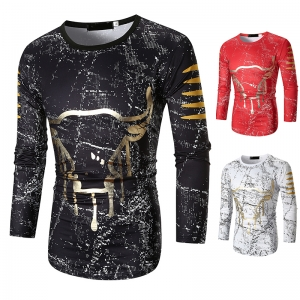 Europe Men's Fashion Ink Point Cow Head Design Arc Hem Long-Sleeved T-Shirt