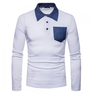 Men's Pocket Neckline Color Matching Casual Long-Sleeved Collar POLO-Shirt