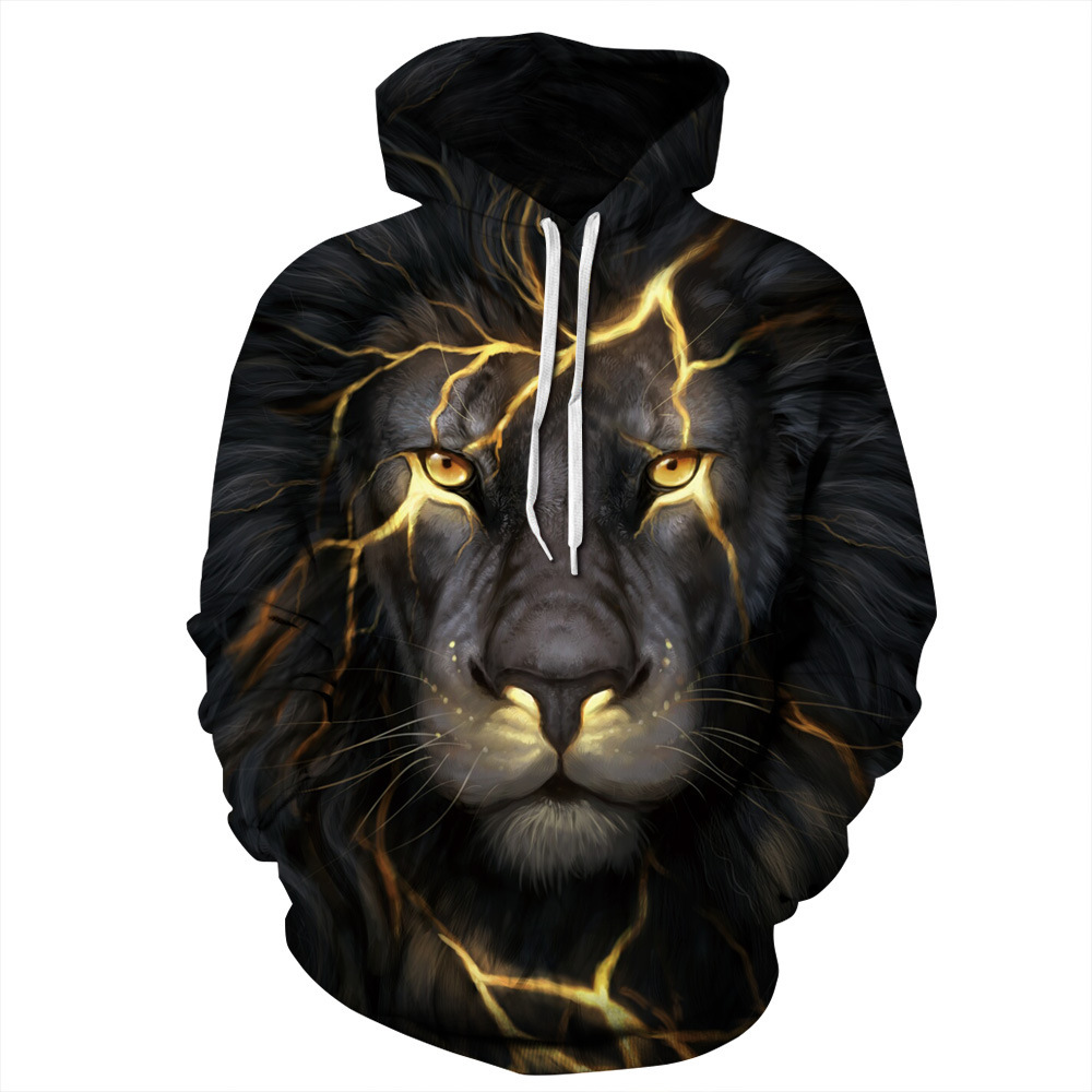 Couple's Fashion Lion 3D Print Hooded Sweater