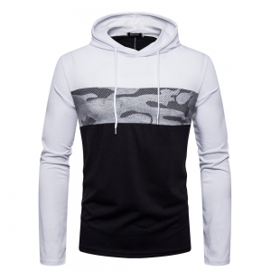 Men's Fashion Street Style Color Stitching Hooded Long-Sleeved Bottoming T-Shirt