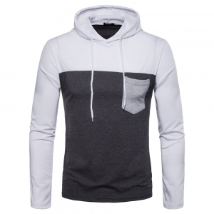 Europe Men's Color Matching Long-Sleeved Pocket Hooded T-Shirt
