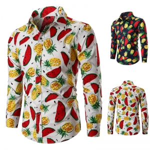 Men's Fashion Cartoon Watermelon And Pineapple Pattern Print Long Sleeve Shirt