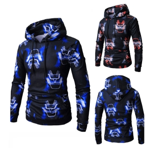 Men's Fashion Wild Personality Pattern Digital Print Long Sleeve Hooded Sweater