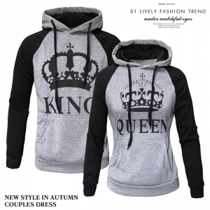 Couple's Fashion Casual Color Stitching Crown Figure Print Long Sleeve Hooded Sweater Jacket