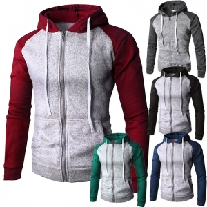 Men's Fashion Personality Color Stitching Casual Sport Sweater Jacket