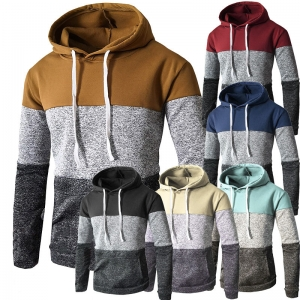 Men's Fashion Color Stitching Casual Long Sleeve Sport Sweater Jacket
