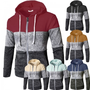 Men's Casual Fashion Color Matching Zipper Design Long Sleeve Hooded Cardigan Sweater