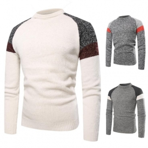 Men's Fashion Round Neck Color Stitching Shoulder Long Sleeve Sweater