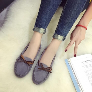 Korean Women's Casual Simple Solid Color Bow Decoration Flat Shoes