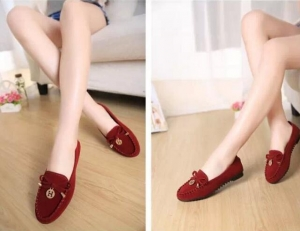 Women's Fashion Shallow Mouth Simple Bow Metal Logo Decoration Solid Color Non Slip Shoes