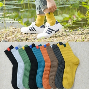 Unisex's Fashion Ethnic Style Solid Color Vertical Stripes Cotton High Tube Business Socks