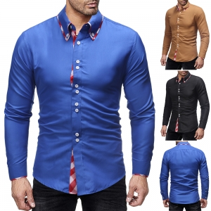 Men's Fashion Double Collar Plaid Stitching Design Casual Slim Long-Sleeved Shirt