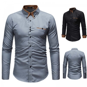 Men's Fashion Double Collar Business Solid Color Casual Slim Long Sleeve Shirt