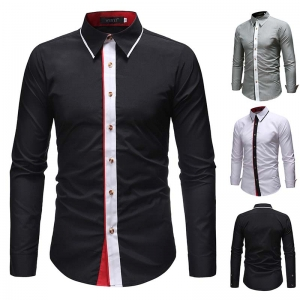 Men's Fashion Trendy Color Stitching Casual Slim Long-Sleeved Shirt