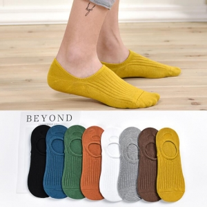 Unisex's Japanese Style Solid Color Breathable Cotton Pinstripe Silicone Non-Slip Socks