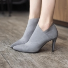 Europe Women's Fashion Trendy Solid Color Pointed Head High Heel Martin Boots