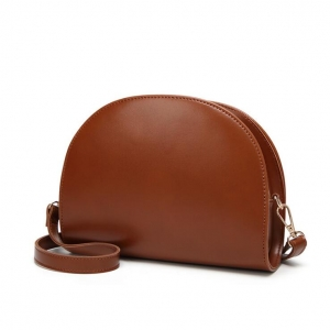 Korean Women's Fashion Personality Oil Wax Leather Solid Color Semi-Circular Shoulder Bag