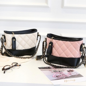 Korean Women's Fashion Casual Quilted Pattern Color Stitching Shoulder Bag