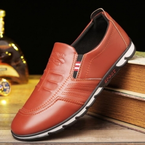 Korean Men's Fashion Casual Waterproof Round Head Solid Color Flat Shoes