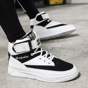 Korean Men's Fashion Black And White Color Stitching Velcro Leisure Sport Shoes