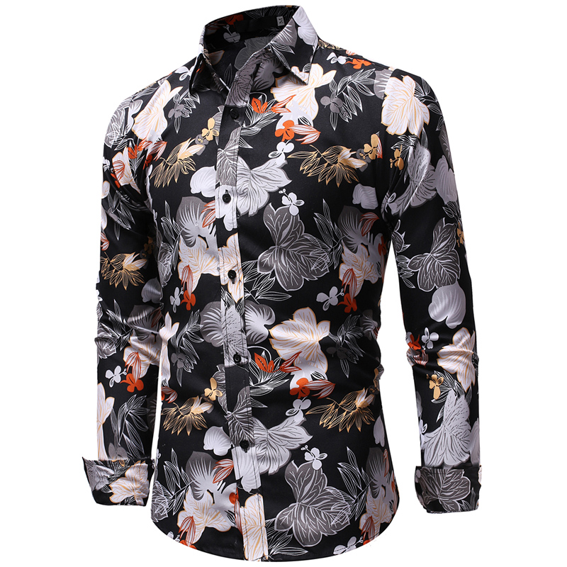 Men's Fashion Flower Figure 3D Digital Print Casual ...
