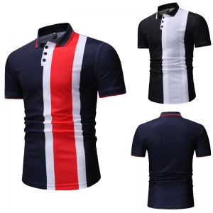 Men's Fashion Three Color Stitching Casual Short Sleeve POLO Shirt