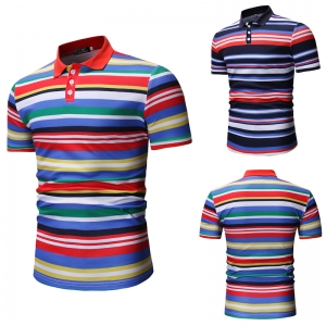 Men's Fashion Colorful Stripe Pattern Design Casual Short Sleeve POLO Shirt