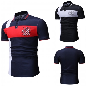 Men's Fashion Color Stitching Creative Figure Print Short Sleeve POLO Shirt