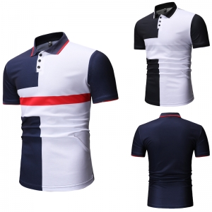 Men's Fashion Simple Color Stitching Design Short Sleeve POLO Shirt