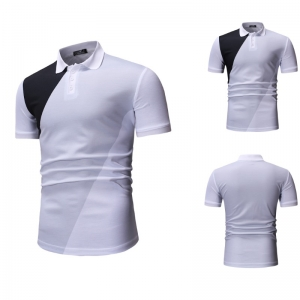 Men's Fashion Casual Color Matching Short Sleeve POLO Shirt