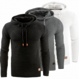 Europe Men's Fashion Solid Color Jacquard Long-Sleeved Hooded Sport Jacket