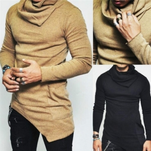 Europe Men's Fashion Solid Color Pile Collar Long Sleeve Shirt