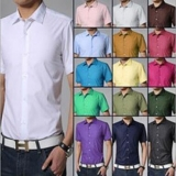 Korean Men's Fashion Solid Color Slim Casual Short Sleeve Business Shirt