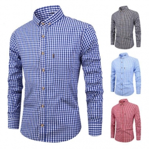 Men's Fashion Plaid Pattern Design Casual Breathable Long Sleeve Cotton Shirt