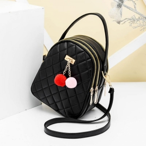Korean Women's Fashion Quilted Pattern Trendy Metal Decoration Backpack