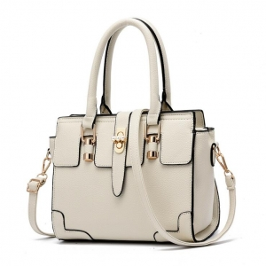 Europe Women's Fashion Solid Color Metal Pearl Rotary Lock Design Shoulder Bag