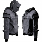 Men's Fashion Solid Color Retro Elbow Drawstring Mask Knight Sweater