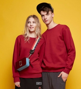 Men's Couple Fashion Simple Solid Color Round Neck Long Sleeve Sweater Shirt