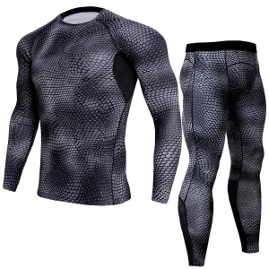 Men's Fashion Snake Pattern Design Breathable Quick-Drying Long Sleeve Running Sportswear