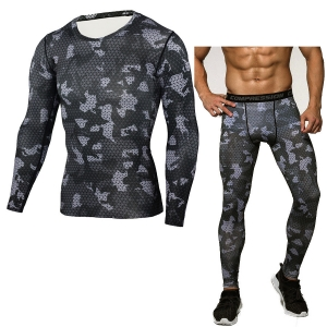 Men's Fashion Round Neck Cool Long Sleeve Outdoor Camouflage Design Sportswear