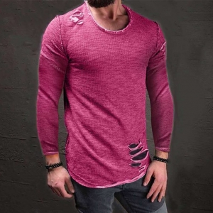 Europe Men's Fashion Personality Hole Design Solid Color Long Sleeve T-Shirt