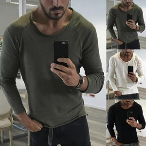 Europe Men's Fashion Personality Round Neck Solid Color Slim Long Sleeve T-Shirt