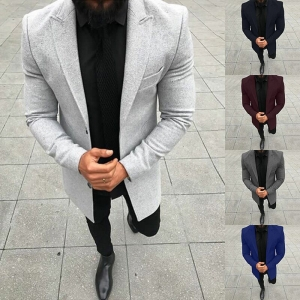Men's Fashion Solid Color Single-Breasted Lapel Long Sleeve Jacket