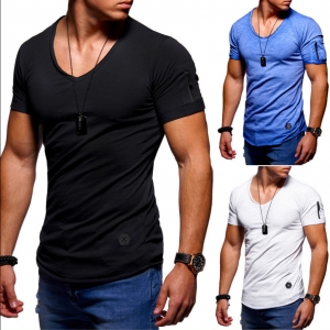 Europe Men's Fashion Personality Solid Color Zipper Decoration Short Sleeve T-Shirt