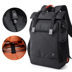 Men's Fashion Simple Solid Color Trendy USB Spot Design Waterproof Backpack