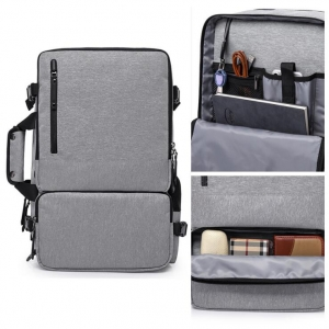Men's Fashion Solid Color Multi Function Pocket Waterproof Anti-Theft Computer Backpack